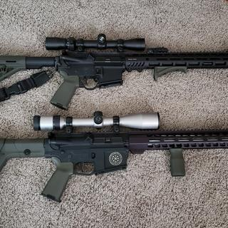 """Top: RRA Comp 16"""" (heavily modified) Bottom: PA 20"""" Upper & Polymer Lower"""