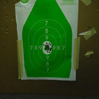 50 yards with the sights, to my surprise they really we're out of the box zeroed