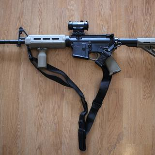 With a Sling, Bushnell TRS-25, MagPul Vertical Grip & Troy End Plate Sling Mount.