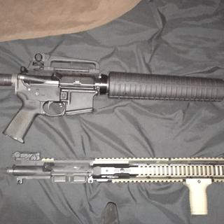 """Top: Dissipator upper in stock form with A2 Carry Handle Bottom: Custom 16"""" upper w/ most PSA parts"""