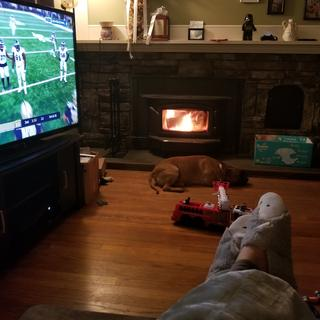My fave spot to relax, recliner on the end. Nice and cozy by the fire