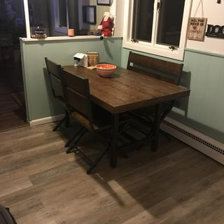 Beautiful table, very sturdy and plenty of room! Would definitely recommend this table!