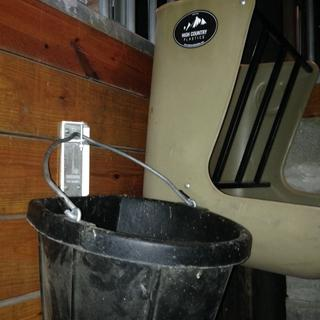 Fortiflex bucket holder and Fortiflex flat back bucket that has been in use for 2+years.