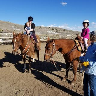 4 year old Charlee was the first to wear the XS Troxel at our 501C3 Ruby Riders group.