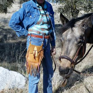 Clip on belt bag.  Great for horseback and motorcycle riding.