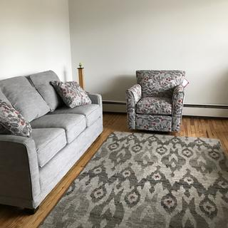 My new Lazboy living room, swivel chair, sofa and rug! Perfect pick of fabrics!
