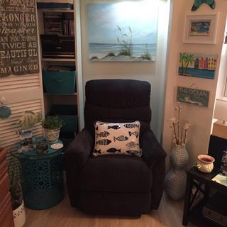 Boho chic area! In new coastal room..