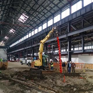 """Predrilling with 16"""" auger prior to installation of helical piles. Building 128, Brooklyn Navy Yard"""