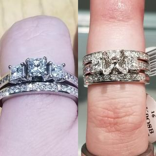 Before the center stone and when I picked it up!!! 2nd band should be here in a few weeks!