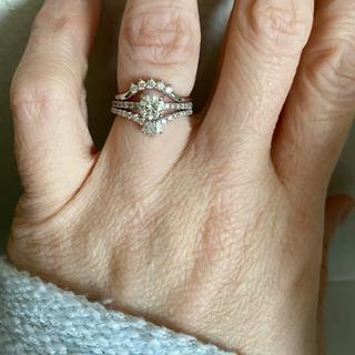 Pave Set Engagement Ring with .59 carat center stone/Diamond V Wedding Band