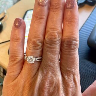 The ring is perfect with this engagement band