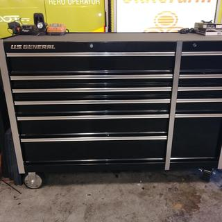 56 in  Double Bank Black Roller Cabinet
