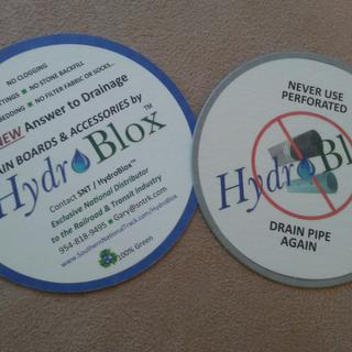 HydroBlox/SNT - 2-sided coasters for tradeshow use...great product..!!