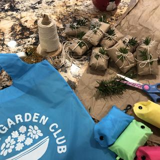 Colorful tote bags as holiday gifts to garden club members