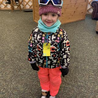 We love our Burton  Flex Puffy Snowboard Jacket! My granddaughter taking her first ski lesson!
