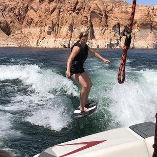 My wife showing that goofy footers rule