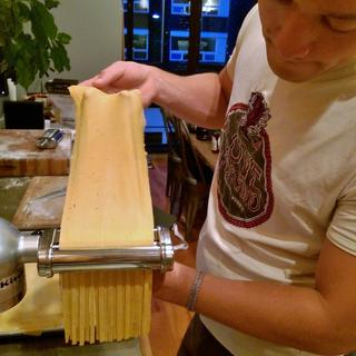 We cut the pasta sheets into fettuccine.
