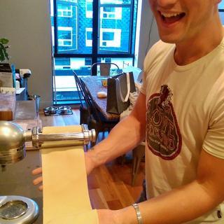 Rolling out the dough; super fun!