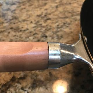 Cracks on other side of the wood handle after using about three times