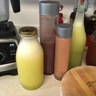 . L to R: pineapple/lemon aguafresca, berry smoothie, melon smoothie, lemon cardamom smoothie.