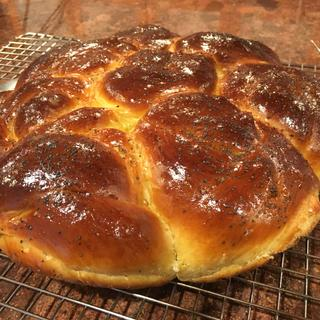 Challah baked in Staub all-day pan