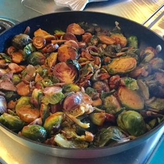 Best water sautéed portobellos and Brussels made in my brand new scan pan.