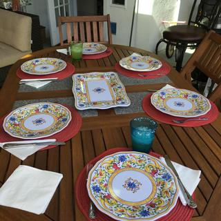 We love the new dishes for our outdoor entertaining. They are fancier than what we use indoors!