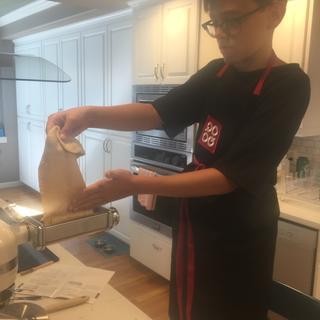 Preparing the pasta dough
