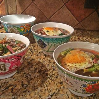 Bowls custom painted and taking their maiden voyage with udon noodle soup.