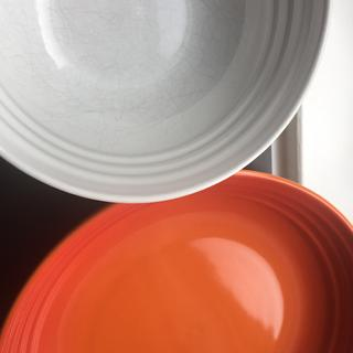 White cereal bowl, flame pasta bowl. Both with 9 months of regular use.