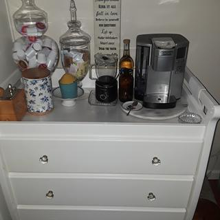 Fits perfect on my coffee/beverage bar.  Drawers hold supplies, mugs and tea cup collection.