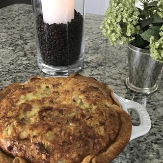 Lovely quiche dish with handles! Baked evenly, with easy clean-up!