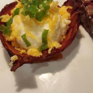 Bacon Bowl filled with twice baked potatoes