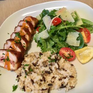 Chicken Cordon Bleu with Brown and Wild Rice Pilaf and Arugula Salad