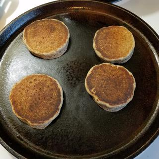 Cast iron skillet cooking pancakes!