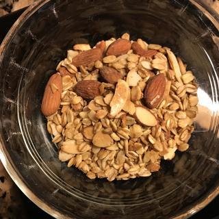"My homemade almond granola, or "" bark"" as my husband calls it!"