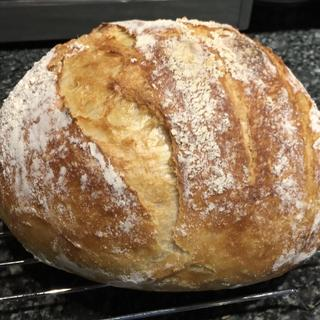 No-knead artisan boule made with 2T goat milk yogurt
