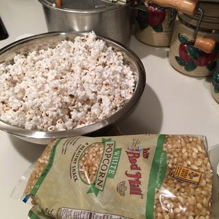 Here are my staples...stove top popper and Bob's Red Mill white kernels. I am a happy camper!