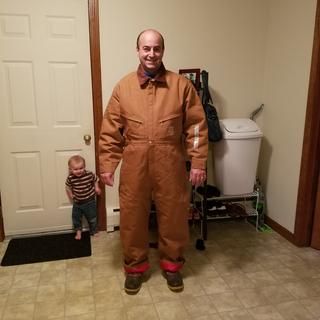 Trying on my new Duck Coveralls in Bow, NH.
