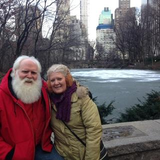 Santa in Central Park with Mrs. Claus