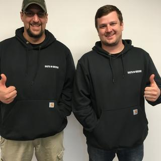 Joe and Cory are thumbs up with their new Carhartt Hoodies!