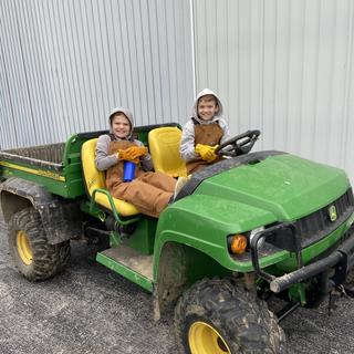 On the farm, where we teach them to drive early!