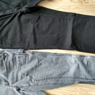 differences in pants - Pair #1 (lighter color) has rivets and Pair #2 does not.