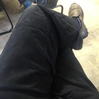 Light light weight denim. Going to see how they hold up for this carpenter. They look great -comfy
