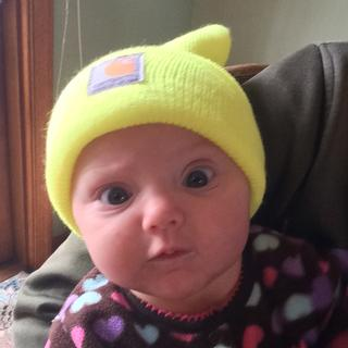 4 months old her first winter hat!