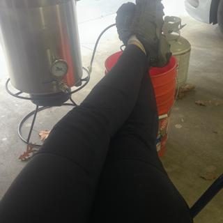 Kicking back for a second while brewing.