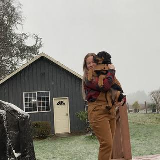 We enjoyed the first snowfall together in some warm carhartts