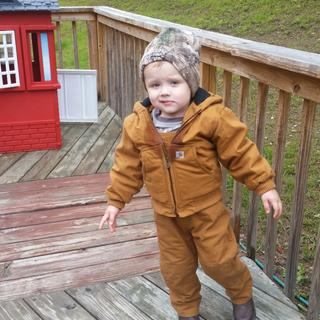 In his Carhartt bibs and jacket!