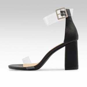 f4e95925c96 About  Perspex Straps Buckle Block Heel